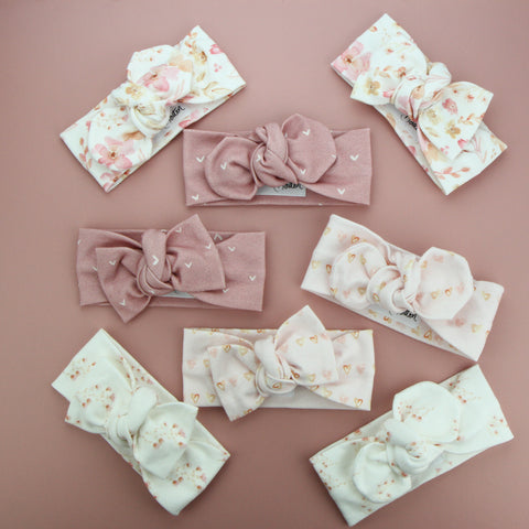 Autumn20 Organic Cotton Bow Knot Headband - Chain of Hearts