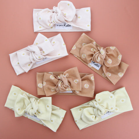 Organic Cotton Bow Knot Headband - Daisy - Lemon - 3 LEFT