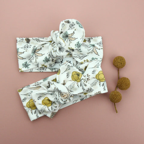 Autumn20 Organic Cotton Top Knot Headband - Exclusive - Hand Drawn Florals