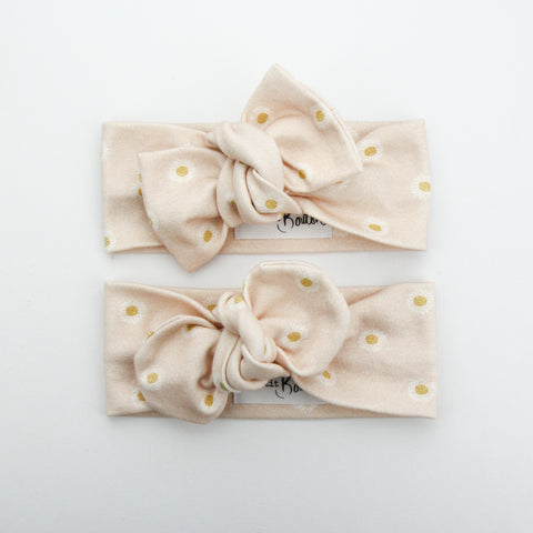 Organic Cotton Bow Knot Headband - Easter Daisy - Shell Pink - 4 LEFT
