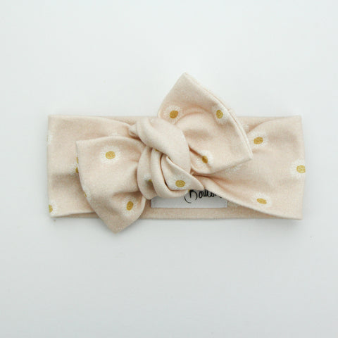 Autumn20 Organic Cotton Bow Knot Headband - Easter Daisy - Shell Pink
