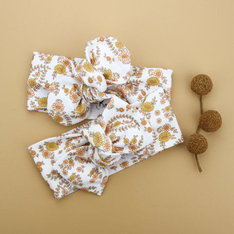 Autumn20 Organic Cotton Bow Knot Headband - Retro Floral on White