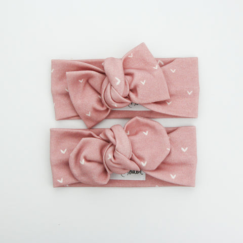 Autumn20 Organic Cotton Top Knot Headband - Rosewood Hearts