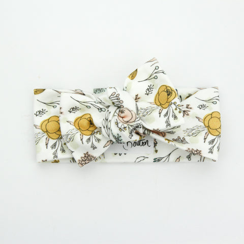 Autumn20 Organic Cotton Bow Knot Headband - Exclusive - Hand Drawn Florals