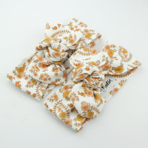 Autumn20 Organic Cotton Top Knot Headband - Retro Floral on White