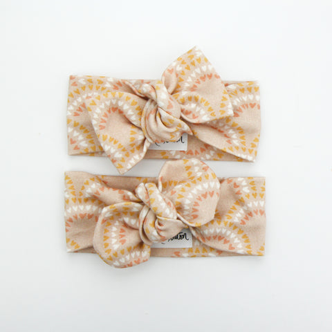 Autumn20 Organic Cotton Bow Knot Headband - Rainbow Hearts