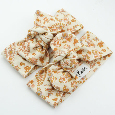 Autumn20 Organic Cotton Bow Knot Headband - Retro Floral on Sand