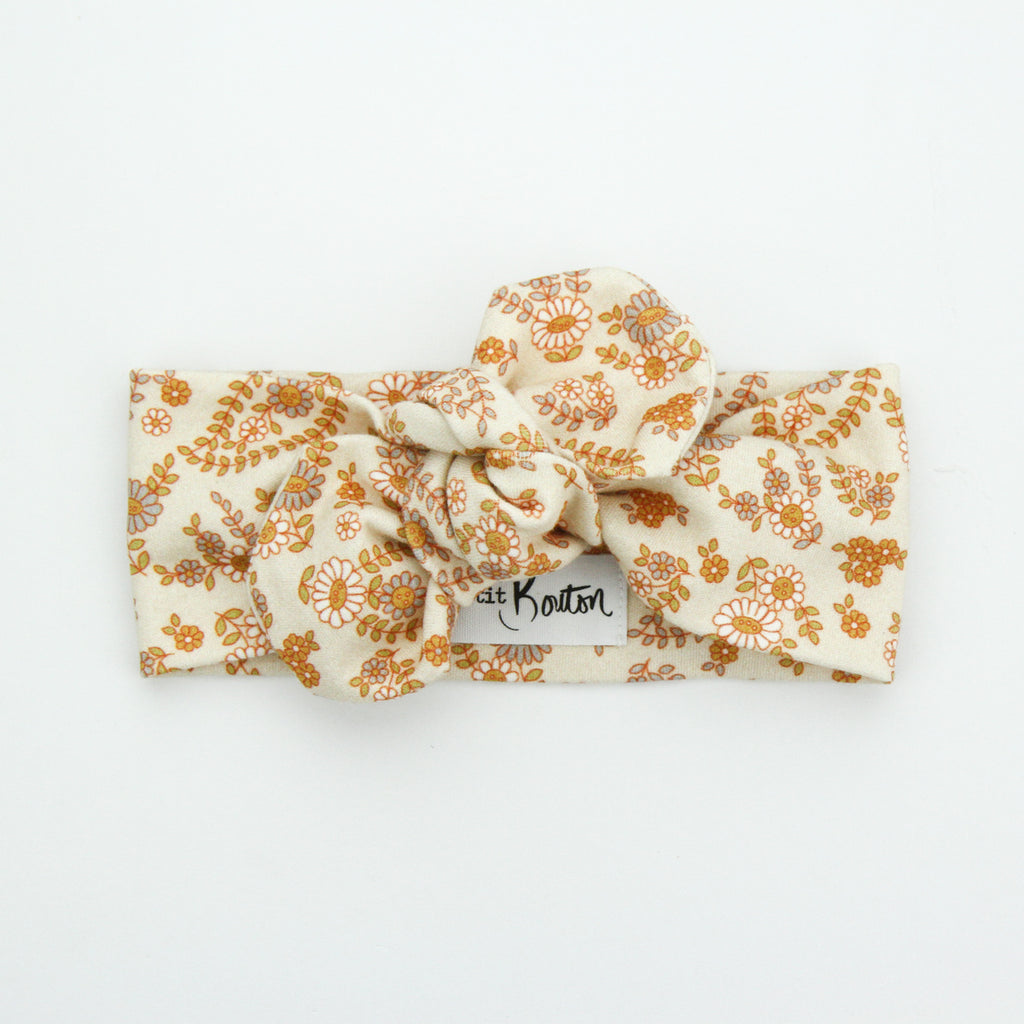 Autumn20 Organic Cotton Top Knot Headband - Retro Floral on Sand