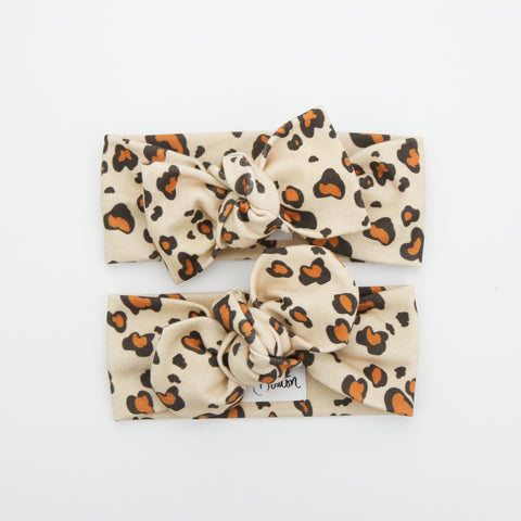 Autumn20 Organic Cotton Top Knot Headband - EXCLUSIVE Leopard - Brick