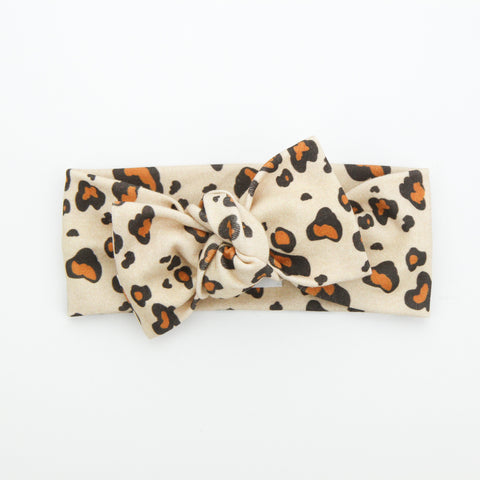 Autumn20 Organic Cotton Bow Knot Headband - EXCLUSIVE Leopard - Brick
