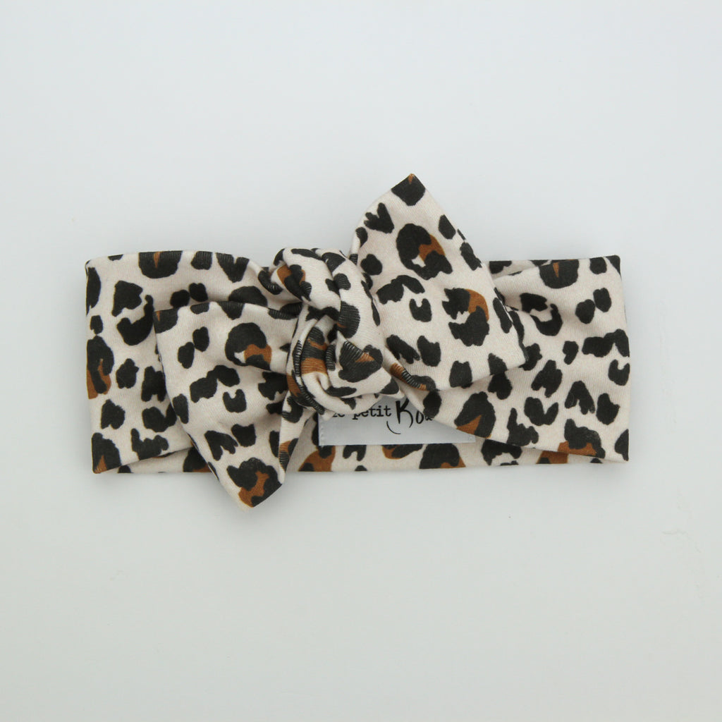Autumn20 Organic Cotton Bow Knot Headband - Soft Blush Leopard