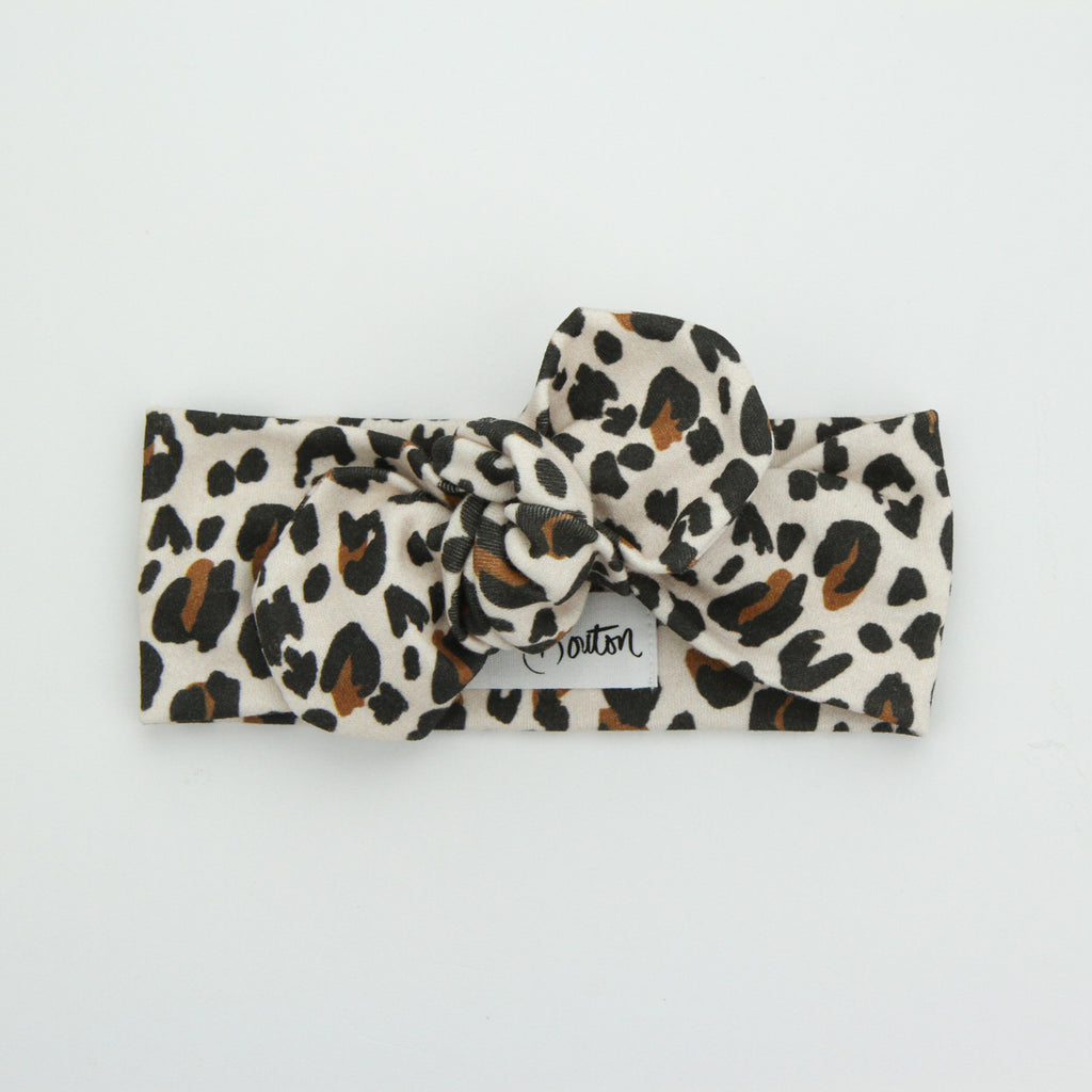 Autumn20 Organic Cotton Top Knot Headband - Soft Blush Leopard
