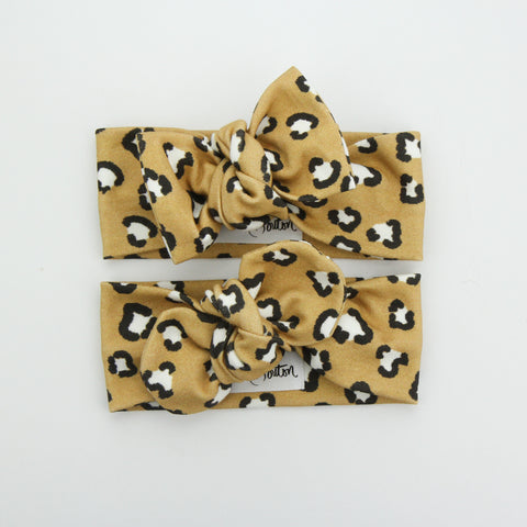 Autumn20 Organic Cotton Top Knot Headband - Exclusive - Leopards Love Mustard