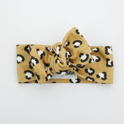 Autumn20 Organic Cotton Bow Knot Headband - Exclusive - Leopards Love Mustard