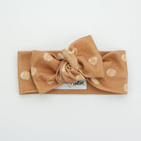 Autumn20 Organic Cotton Bow Knot Headband - Easter Daisy - Clay