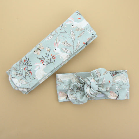 Easter Drop 2 - Organic Cotton Top Knot Headband - Whimsical Sage Bunny