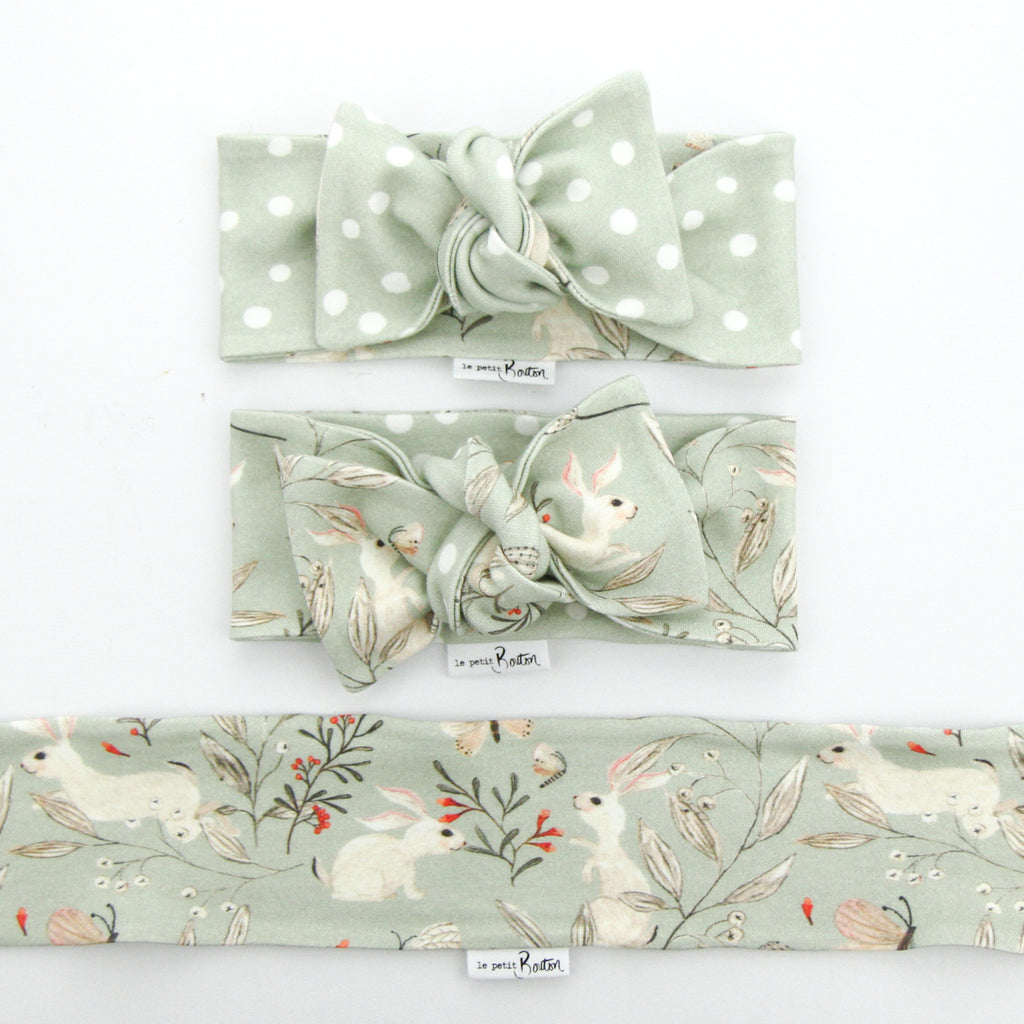 Organic Cotton Reversible Bow Knot Headband - Whimsical Sage Bunny
