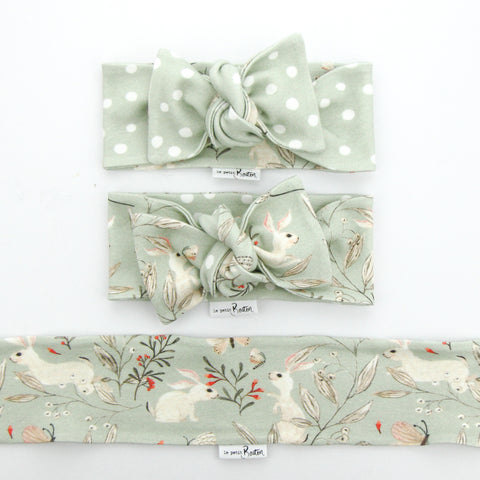 Easter Drop 2 - Organic Cotton Reversible Bow Knot Headband - Whimsical Sage Bunny