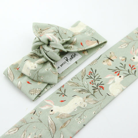 Organic Cotton Bow Knot Headband - Whimsical Sage Bunny