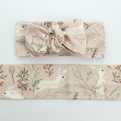 Easter Drop 2 - Organic Cotton Bow Knot Headband - Whimsical Blush Bunny