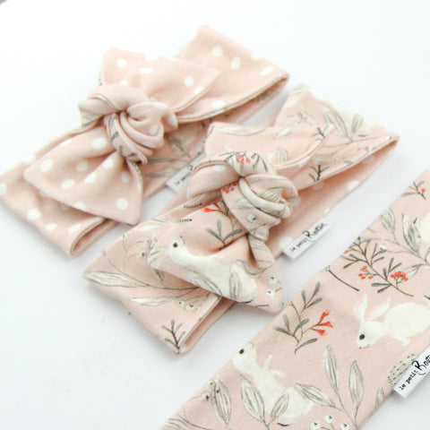 Easter Drop 2 - Organic Cotton Reversible Bow Knot Headband - Whimsical Blush Bunny