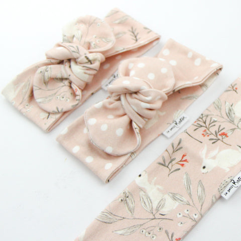 Easter 21 - Organic Cotton Reversible Top Knot Headband - Whimsical Blush Bunny