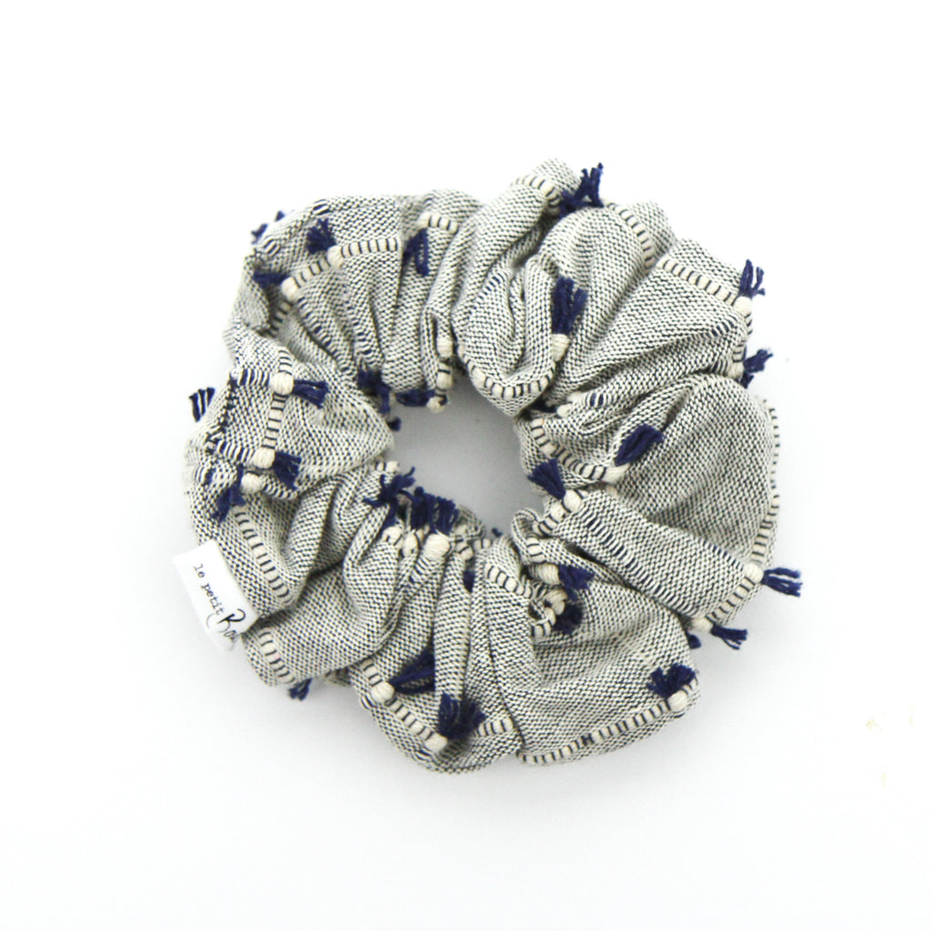 Luxe Statement Scrunchie - Navy - textured tassels