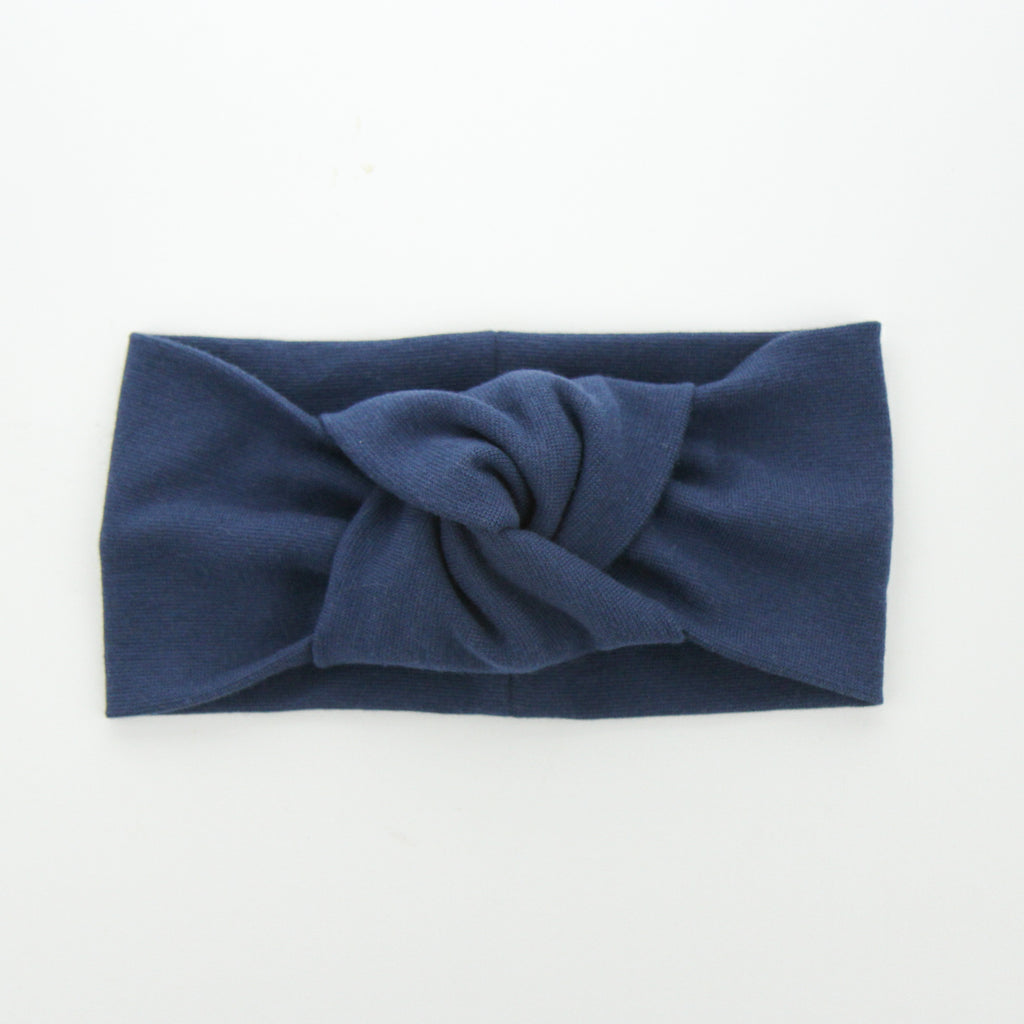 AW2020 Adult Organic Cotton Ribbed Knotted Turban - Light Navy