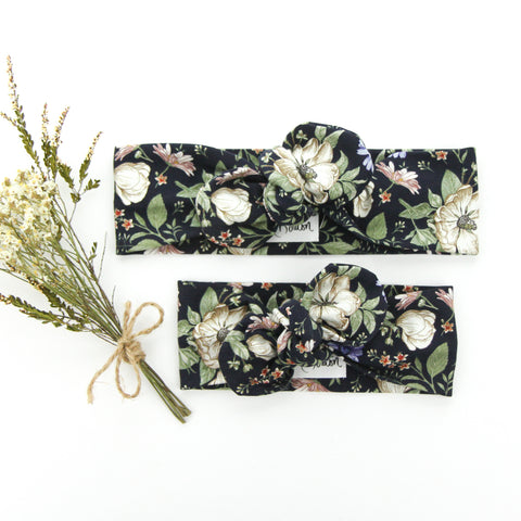 AW2020 Cotton Lycra Knit Top Knot Headband - Navy - Floral