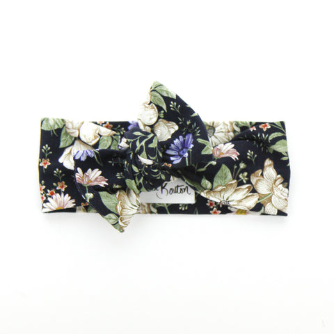 AW2020 Cotton Lycra Knit Bow Knot Headband - Navy - Floral