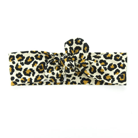 AW2020 Cotton Lycra Knit Top Knot Headband - Leopard Love