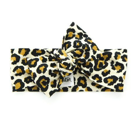 AW2020 Cotton Lycra Knit Bow Knot Headband - Leopard Love