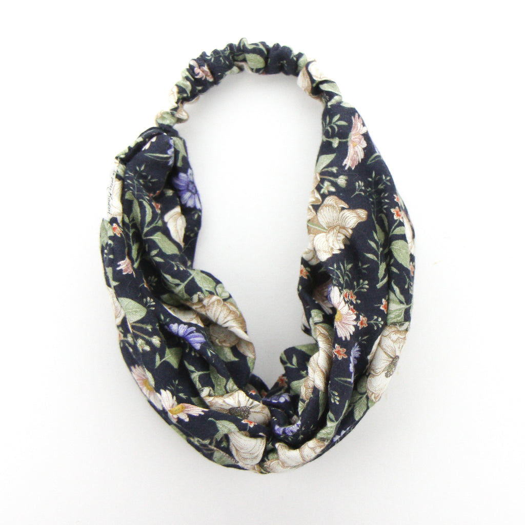 AW2020 Luxe Muslin Adult Turban Headband - Navy Floral
