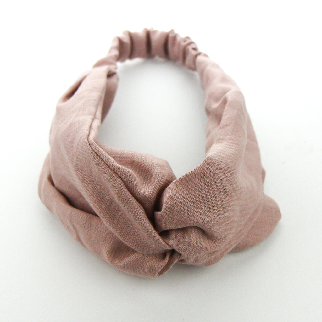 AW2020 Luxe Linen Adult Turban Headband - Dusty Pink Linen
