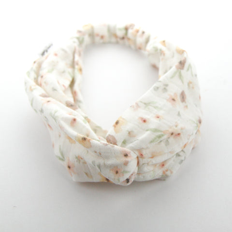 AW2020 Luxe Organic Muslin Adult Turban Headband - Exclusive Milk Flower