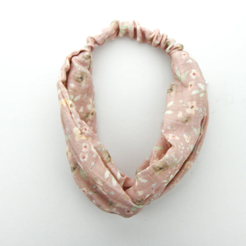 AW2020 Luxe Organic Muslin Adult Turban Headband - Exclusive Pink Wildflowers