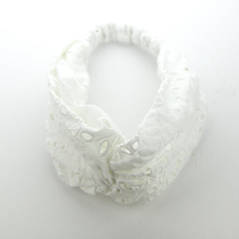 AW2020 Luxe Cotton Broderie Anglaise Adult Turban Headband - White