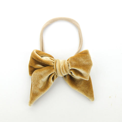 W20 Luxe Velvet Bow on Nylon Headband - Caramel Velvet