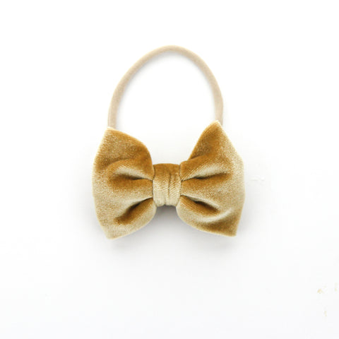 W2020 Velvet Large Bow on Nylon Headband - Caramel Velvet