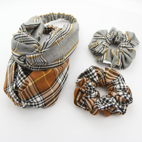 W20 -Luxe Adult Turban Headband - Tan Plaid