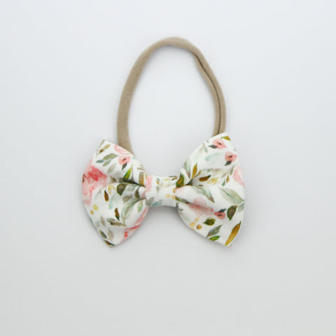 W20 Large Linen Bow on Nylon Headband - Autumn Crush