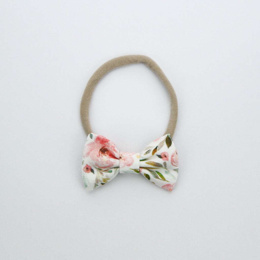 W20 Small Linen Bow on Nylon Headband - Autumn Crush