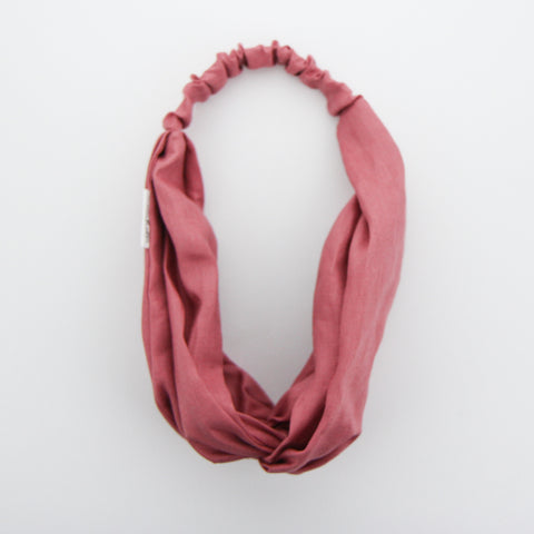 W20  Luxe Linen Adult Turban Headband - Raspberry Linen