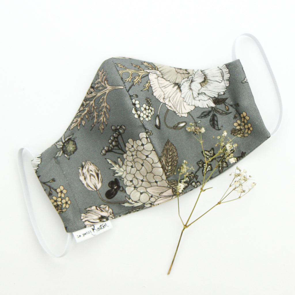 Face Masks - Latte/Grey Floral - Adult