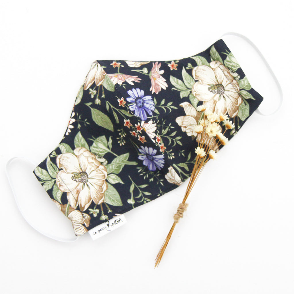 Face Masks - Navy Floral - Adult