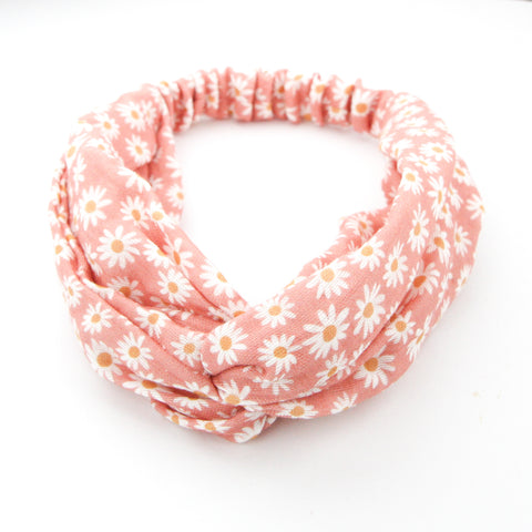 SS20 Luxe Organic Muslin Adult Turban Headband - Watermelon Sugar Daisies