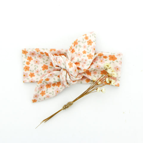 SS20 Newborn Organic Cotton Top Knot Headband - Tangerine Blossom