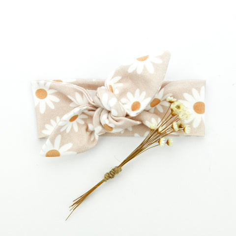 SS20 Newborn Organic Cotton Top Knot Headband - Desert Daisy