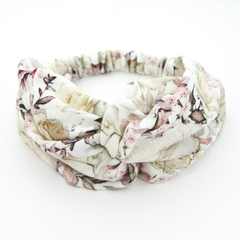SS20 Luxe Muslin Adult Turban Headband - Raspberry Bloom