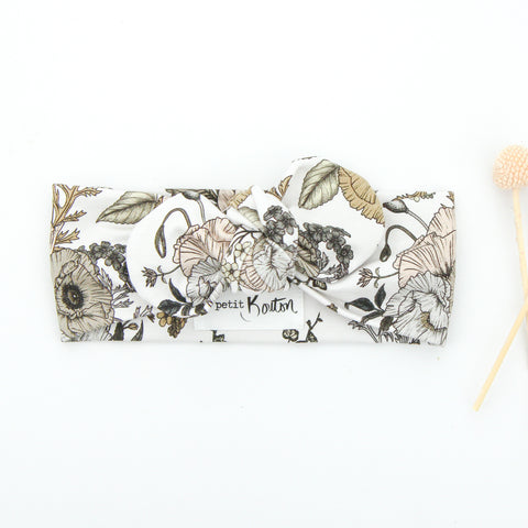 SS20 Cotton Lycra Knit Top Knot Headband - Natural floral